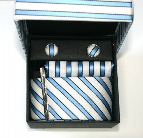 Sky Blue & Cream Striped Tie, Cufflink & Pocket Square Set